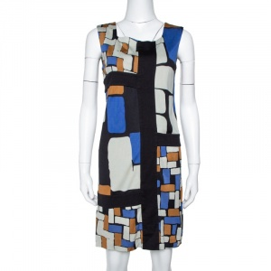 Diane von Furstenberg Color Block Print Silk Mondrian Shift Dress S - used