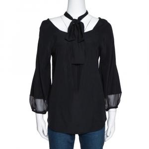 Diane von Furstenberg Black Silk Neck Tie Detail Blouse M - used