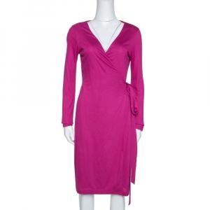 Diane von Furstenberg Fuchsia Pink Jersey New Julian LS Wrap Dress S - used