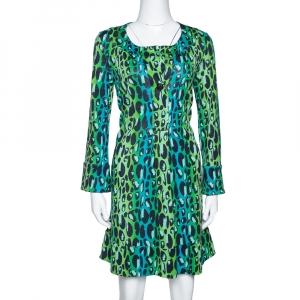 Diane Von Furstenberg Blue & Green Animal Print Silk Jersey Gaby Dress S - used