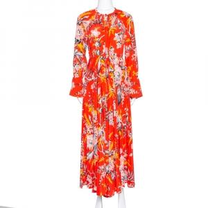 Diane von Furstenberg Red Printed Silk Bethany Cinch Sleeve Maxi Dress XS - used