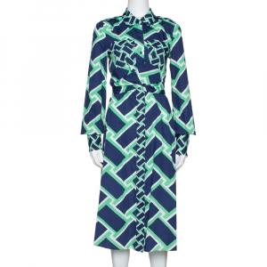 Diane von Furstenberg Navy Blue Printed Cotton Jeri Twist Front Dress S - used