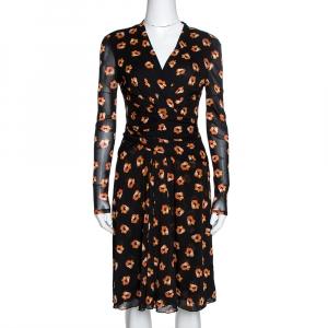 Diane von Furstenberg Black & Orange Floral Print Wrap Dress S - used