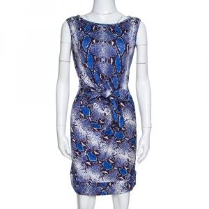 Diane von Furstenberg Blue Printed Silk New Della Mini Dress S - used