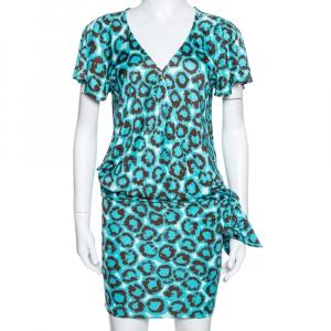 Diane Von Furstenberg Electric Blue Printed Jersey Hayley Wrap Dress M - used