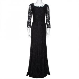 Diane von Furstenberg Black Lace Zarita Gown S used