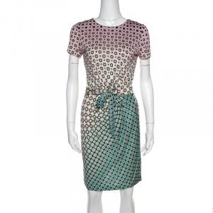 Diane von Furstenberg Multicolor Geometric Print Zoe Faux Wrap Dress M - used