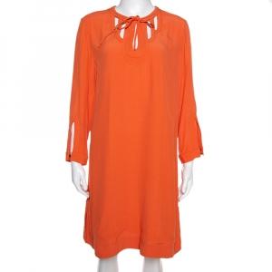 Diane Von Furstenberg Orange Crepe Cutout Detail Kea Shift Dress L - used