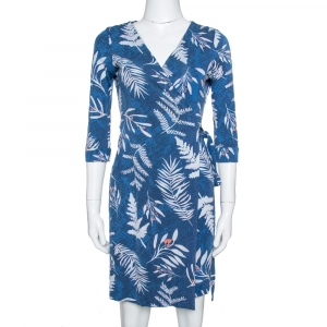 Diane Von Furstenberg Blue Printed Knit New Julian Two Wrap Dress S - used