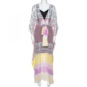 Diane von Furstenberg White Printed Silk Sheer Annushka Kaftan M - used