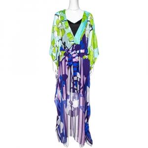 Diane von Furstenberg Multicolor Printed Silk Sheer Anushka Kaftan M - used