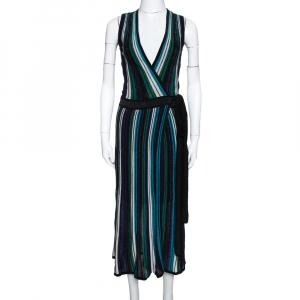 Diane von Furstenberg Black Lurex Striped Knit Cadenza Wrap Dress P