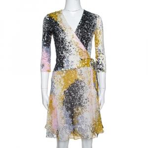 Diane von Furstenberg Multicolor Printed Silk New Irina Wrap Dress S