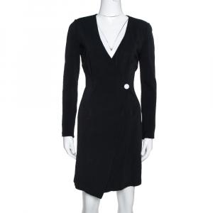 Diane von Furstenberg Black Jersey Mini Wrap Dress S