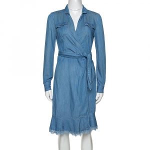 Diane von Furstenberg Blue Denim Aya Wrap Dress S