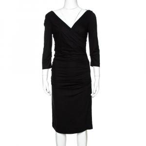 Diane Von Furstenberg Black Jersey Ruched Bentley Three Quarter Dress S