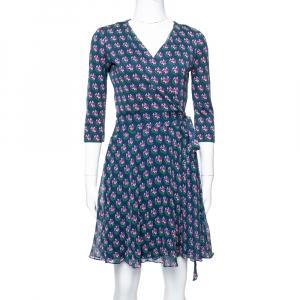 Diane von Furstenberg Navy Blue Floral Print Silk Irina Wrap Dress S - used