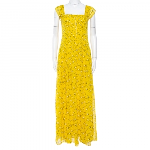 Diane von Furstenberg Yellow Floral Print Silk Lillie Maxi Dress M