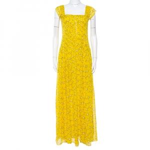 Diane von Furstenberg Yellow Floral Print Silk Lillie Maxi Dress M - used