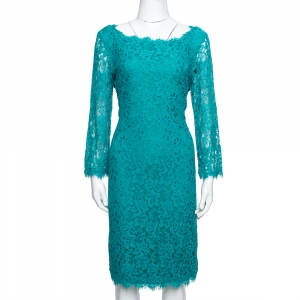 Diane von Furstenberg Zephyr Green Lace Zarita Dress L - used