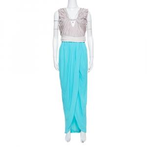 Diane von Furstenberg Blue Sateen & Crepe Wrap Effect Darleena Dress M