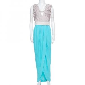 Diane von Furstenberg Blue Sateen & Crepe Wrap Effect Darleena Dress S - used