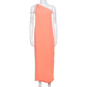 Diane von Furstenberg Neon Orange Crepe Liluye One Shoulder Dress M
