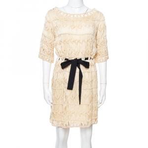 Diane von Furstenberg Cream Crochet Macrame Solar Belted Dress M