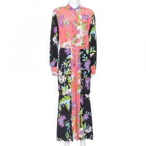 Diane von Furstenberg Coral Pink Floral Print Silk Crepe Maxi Dress L