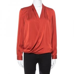 Diane von Furstenberg Burnt Orange Silk Cross Over Front Issie Blouse S
