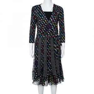 Diane von Furstenberg Floral & Dot Print Paneled Caprice Wrap Dress M