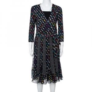 Diane von Furstenberg Floral & Dot Print Paneled Caprice Wrap Dress M - used