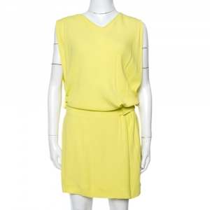 Diane von Furstenberg Yellow Crepe Drop Waist Belted Gagon Dress S