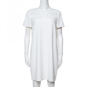 Diane von Furstenberg White Crepe Cecilia Shift Dress M