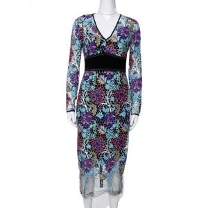 Diane Von Furstenberg Multicolor Floral Guipure Lace Sheath Dress S - used