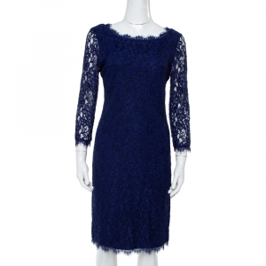 Diane Von Furstenberg Navy Blue Lace Zarita Long Sleeve Dress M