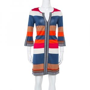 Diane von Furstenberg Multicolor Striped Silk Jersey Rose Shift Dress M - used