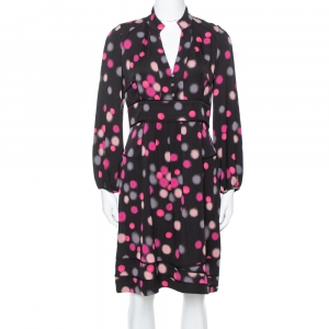 Diane Von Furstenberg Black Polka Dots Silk Half Sleeve Midi Dress M - used