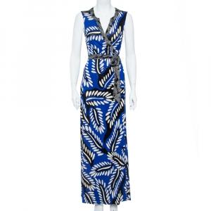Diane von Furstenberg Blue Printed Silk Jersey Orchid Maxi Wrap Dress M - used