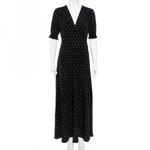 Diane von Furstenberg Black Crepe de Chine Silk Embellished Avianna Gown M used