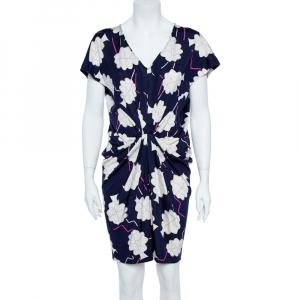 Diane Von Furstenberg Blue/White Floral Print Silk Jersey Draped Nobuko Dress L - used