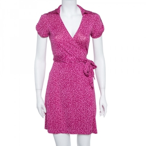 Diane von Furstenberg Pink Printed Silk Jilda Two Wrap Dress S