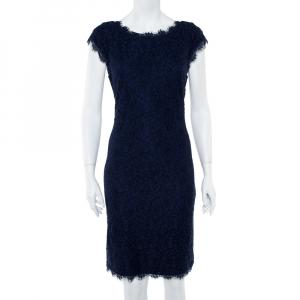 Diane Von Furstenberg Navy Blue Lace Detail Dress L - used