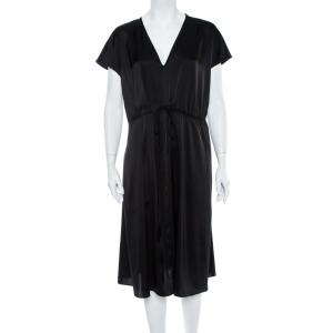 Diane Von Furstenberg Black Cardea Satin Tie Detail Dress M - used
