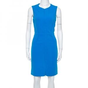 Diane Von Furstenberg Blue Knit Parquet Sailor Fitted Dress M - used