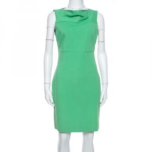 Diane Von Furstenberg Green Knit Boat Neck Detail Ayaka Sheath Dress M
