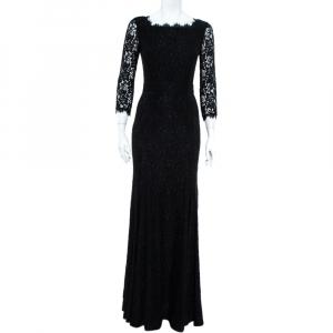 Diane Von Furstenberg Black Floral Lace  Scallop Trim Detail Zarita Maxi Dress L