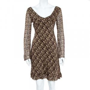 Diane Von Furstenberg Green & Brown Abstract Printed Chiffon Flared Midi Dress - used