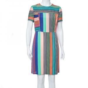 Diane Von Furstenberg Multicolor Burman Striped Knit Sheath Dress L - used