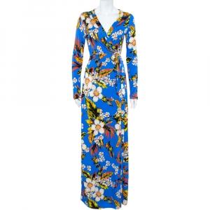 Diane Von Furstenberg Blue Floral Printed Silk Maxi Wrap Dress M - used